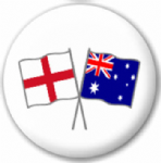 England and Australia Friendship Flag 25mm Pin Button Badge